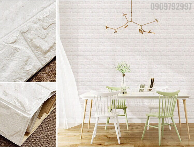 xốp dán tường màu trắng